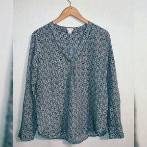 J Crew Printed Drapey v-neck blouse F3802